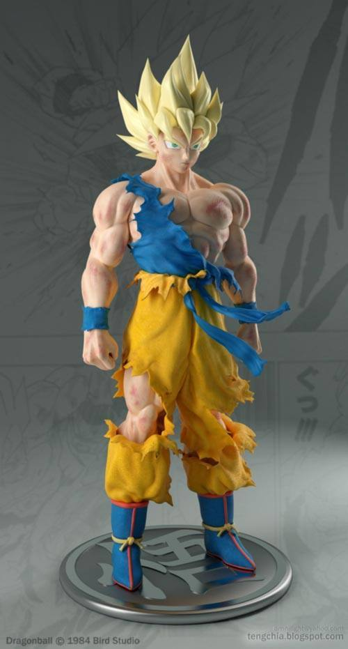 3D Super Saiyan Goku Injured - Front