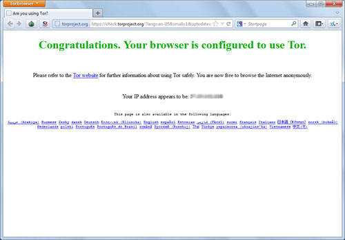 Portable Firefox showing Tor is setuped successfully.